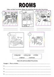 label the rooms of a house in spanish printout. Black Bedroom Furniture Sets. Home Design Ideas