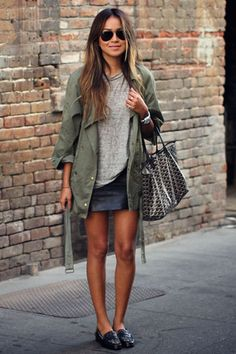 Jules: grey t, leather, green jacket & loafers