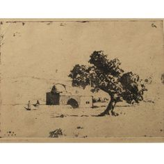 Hermann Struck - Rachel's Tomb IV, Etching, signed (pencil) and dated on the. on Dec 2016 Israel, Graphic Art, Vintage World Maps, Auction, Pencil