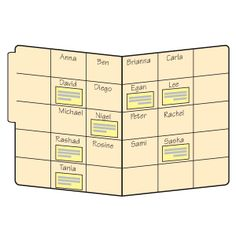 ASSESSMENT IDEA:    Divide the inside of a file folder into boxes that are slightly larger than small sticky notes. Write students' names in the boxes in alphabetical order, one name per box. Whenever you want to make a note about a student's progress, jot the information on a sticky note and then place it in the appropriate box. Periodically move the sticky notes to students' assessment folders. You'll have valuable information at your fingertips when it's time to prepare report cards.