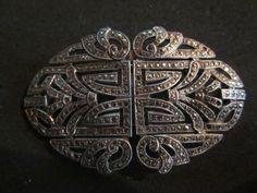 sterling marcasite brooch, dress clips, fabulous/$225