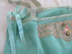 Vintage Aqua Green Delicate Silk Chemise Ribbon Flowers 1920s Hand Stitched | eBay