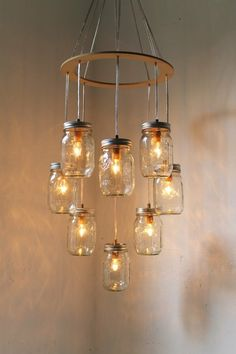 Circular canning jar chandelier by MarilynRuth51 (Butter Churn Lamp)