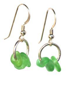 Different Shades Of Green, Bingo, Sea Glass, 3 Piece, Drop Earrings, Beach, Jewelry, Jewlery, The Beach