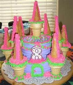 PERFECT cake for our 2 kids joint bday party--- will make it grey with a blue moat and some nice green vines for color with a knight/horse action figure set at bottom and princess in the tower