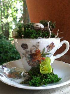 Flower teacup birds nest rustic decor woodland by PillowsBeyond
