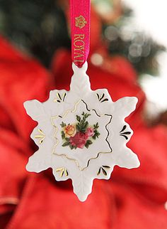 Royal Albert Old Country Roses Snowflake Ornament - Would love this for my Christmas tree!