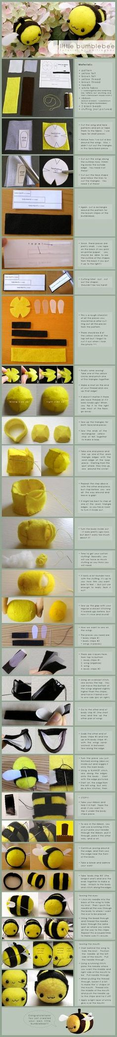 Mazza a tiny bumble bee little bumblebee: tutorial by ~onifrogbox on deviantART Plushie Patterns, Felt Patterns, Sewing Patterns, Softies, Plushies, Sewing Toys, Sewing Crafts, Sewing Projects, Bee Crafts