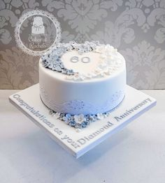 Rich fruit Diamond Wedding Anniversary cake, decorated with tiny flowers, diamante lace and edible diamonds - find me on Facebook - Cakes at Rachel's