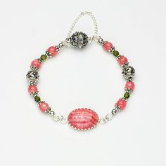 Designer Rhodochrosite Bracelet Design & Color Palette by Anne Gregory