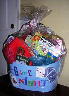 """Movie Night Basket Gift The """"Game Night"""" Basket - 2009 Theme Baskets, Themed Gift Baskets, Diy Gift Baskets, Christmas Gift Baskets, Diy Christmas Gifts, Gift Baskets For Kids, Christmas 2019, Movie Basket Gift, Movie Night Gift Basket"""