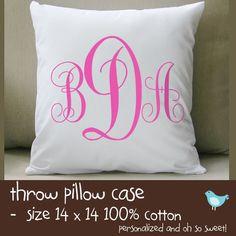 custom kids monogram throw pillow and pillowcase by zoeysattic