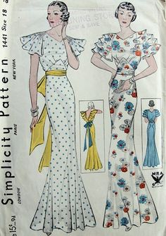 1930s Simplicity 1441 - really lovely evening gown