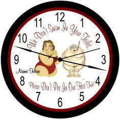 Personalized Hot Tub / Jacuzzi / Swimming Pool / Bathroom Wall Clocks Three Picture Choices Can Be Personalized With Name Or Left Blank.