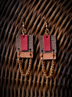 {Leather Earrings By: Lisa Mews} #Leather #DIY #Earrings