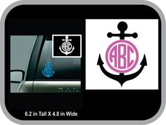 anchor monogram decal car decal, round anchor monogram, anchor sticker - pinned by pin4etsy.com