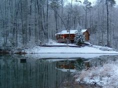 cabin in the snow - looks like a postcard