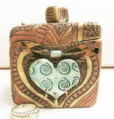 Carved Clay Engagement or Anniversary Ring Box by clayscenes, $55.00