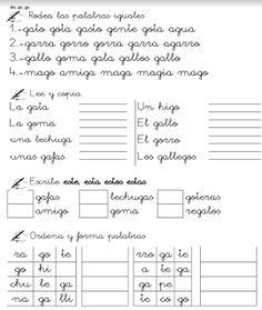 GA,GO,GU,GUE,GUI,GE,GI,JE,JI Spanish, Bullet Journal, Math, Irene, Peru, Frases, Creative Writing, Writing Activities, Word Reading