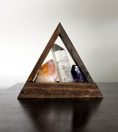 Amethyst -                                                      lemurian seed crystal citrine and amethyst point in standing handmade wood triangle box