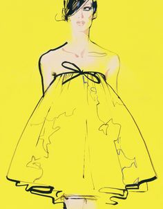 Beautifully simple yet distinctive Haute Couture fashion images by the master of fashion illustration, David Downton.