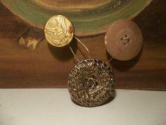 Antique button Brooch with Military style button | HiddenHummingbirdDesigns - Jewelry on ArtFire