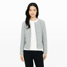 """Our take on the classic boxy jacket mixes uptown polish with downtown personality in this softly textured tweed version with exposed zippers. Wool/cotton blend Boxy silhouette 22"""" in length from high point of shoulder Round neck; zip front with covered placket and snap-button closure; long sleeves; exposed silver-tone zip welt pockets at sides Fully lined Dry clean Imported"""