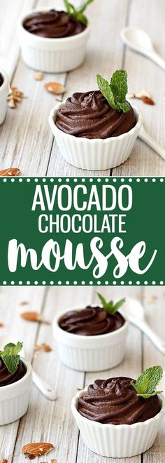 A healthy, gluten-free, egg-free, dairy-free, refined sugar-free, low carb, vegan, and paleo avocado chocolate mousse. Easy to make and ready in 2 minutes. via @easyasapplepie