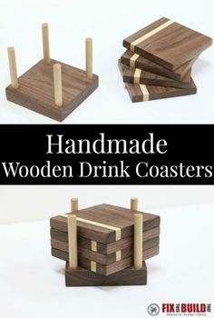 With a few pieces of wood and a few tools you can make these DIY Wooden Drink Coasters. This homemade coaster set is a great housewarming or hostess gift wood coasters DIY Wooden Drink Coasters Small Woodworking Projects, Small Wood Projects, Woodworking Crafts, Woodworking Plans, Carpentry Projects, Popular Woodworking, Woodworking Shop, Woodworking Classes, Intarsia Woodworking