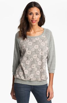Bobeau Lace Front Sweatshirt available at #Nordstrom
