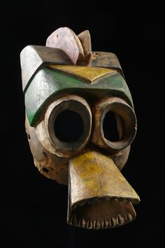 "Nigeria Mumuye This mask type is the female partner of the buffalo mask appearing at the ""vabong"" masquerade. Arte Tribal, Tribal Art, Mask Dance, Art Premier, Native Design, Art Africain, Africa Art, Art Sculpture, African Masks"