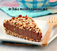 If you're obsessed with Nutella - this is the cheesecake you need to make and it's NO BAKE and totally scrumptious! NO BAKE NUTELLA CHEESECAKE - this is what cheesecake dreams are made of! No Bake Desserts, Just Desserts, Delicious Desserts, Dessert Recipes, Yummy Food, No Bake Nutella Cheesecake, Cheesecake Recipes, Cheesecake Desserts, Yummy Treats