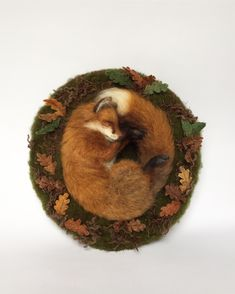 Needle felted fox sculpture