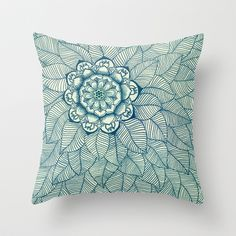 Emerald Green, Navy & Cream Floral & Leaf doodle Throw Pillow by Micklyn - $20.00