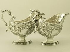 Pair of Sterling Silver Sauceboats - Regency Style - Antique George III