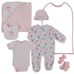 Seven Piece White & Pink Poodle Baby Set