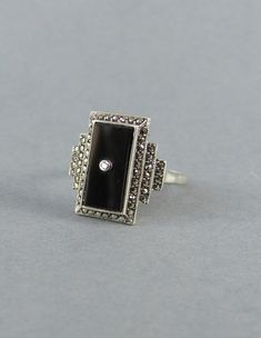 ART DECO antique diamond and onyx, marcasite and silver ring, one of a kind vintage silver ring, goth signet ring, diamond engagement ring.
