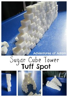 T is for Tower Tuff Spot Use sugar cubes to create different towers in the Tuff Spot Builders Tray| http://adventuresofadam.co.uk/tower-tuff-spot/