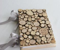 Rustic wedding guestbook wood coin book with ribbon personalized for your Wedding via Etsy