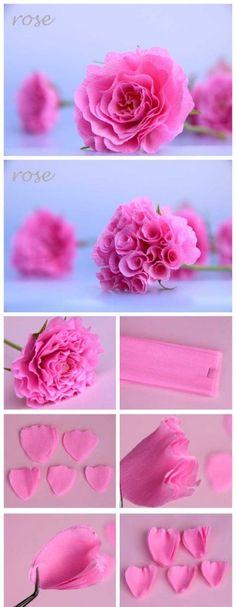 como fazer flor rosa de papel crepom decoracao casamento aniversario batizado (1)