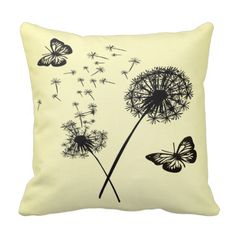 Yellow & Black Pillow Cushions with Butterflies & Dandelion Wishes are so pretty and stylish they will enhance any room.. #yellow #black #pillows #cushions #throw #dandelion #wishes #butterflies #home #decor #modern #pretty #stylish
