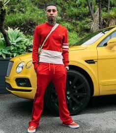 Tyga Red Leather, Leather Jacket, Tyga, Winter Fashion, Heart Eyes, Luxury, Classic, Jackets, King