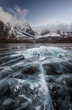 magicalnaturetour: The Diamond by Stian Klo World Photography, Night Photography, Travel Photography, Landscape Photos, Landscape Photography, Lake Mountain, Lofoten, Dark Backgrounds, Nature Pictures