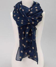 Take a look at this Navy Blue  Tan Polka Dot Scarf by Bubbly Bows on  today!