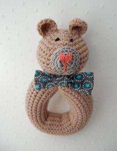 rattle crochet bear your choice bow tie by emilylbaum on Etsy