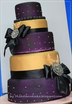 Purple and Gold Wedding Cakes | Mad About Cake: Deep purple and Gold Wedding Cake, Be BOLD