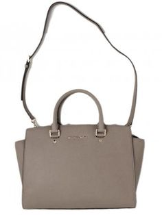 Michael Kors Selma Dark Dune Satchel Bag Leather Tote In Sand Color From Micheal