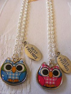 ♥2 Best Friends Forever BFF Necklace Owls Silver Plated Chain♥ I WANNNNNNT IIITT