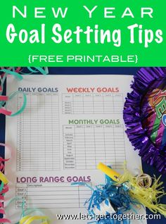 New Year Goal Setting Tips & awesome #freeprintable - daily, weekly, monthly & long range goals #newyearsresolutions #goalsetting
