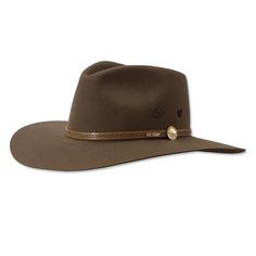 """No piece of apparel reflects the American West more than a Stetson® hat, and no Stetson captures the Western spirit better than this classic hat of pure wool felt. Trimmed with a genuine leather hatband, which features a replica of a vintage buffalo nickel. 3½"""" brim, 4½"""" crown. Fully lined. Presented in a reusable Stetson box. In brown. Wipe clean with a damp cloth. Made in USA. <br />Men's hat sizes: 6 ⅞, 7, 7 ⅛, 7&#..."""
